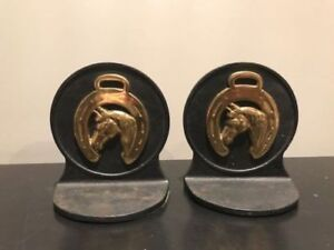 Cast Iron and Bronze Horse Book Ends
