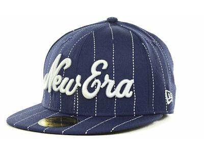 New Era Script The Cap Pros Wear! Fitted Flat Bill Brim Pinstripe Wool Hat Cap Flat Brim Fitted Wool Cap