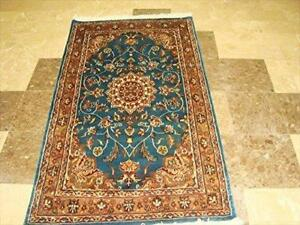 Sea Blue Floral Ivory Touch Excellent Area Rug Wool Silk Hand Knotted Carpet (5 x 3)'