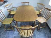 Wooden Farmhouse Style Kitchen/Dining Table & 5 Chairs