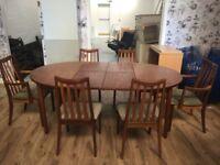 G Plan Furniture - Extendable Teak Dining Table and Chairs Set 4-6 Places