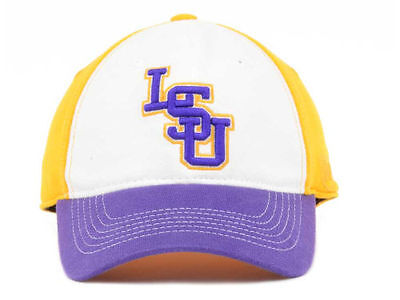 best service 3b91b 12dc0 LSU TIGERS Top of the World NCAA White Gold Purple Flex fit Cap Hat OSFM  28