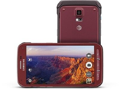 (New Samsung Galaxy S5 Active SM-G870a 16GB AT&T Unlocked Android Smartphone Red)