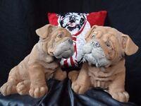 2 Matching Realistic English Large Chunky Bulldog Pups Dog Stone Garden Statues