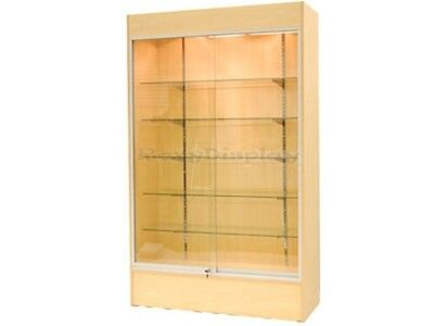 Wall Maple Display Show Case Retail Store Fixture Wlights Knocked Down Wc4m-sc