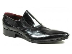 28dc3883a Mens Black Leather Slip on Shoes
