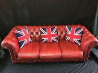 Traditional Handmade Chesterfield Style Leather Sofa 3 Seater Oxblood Red
