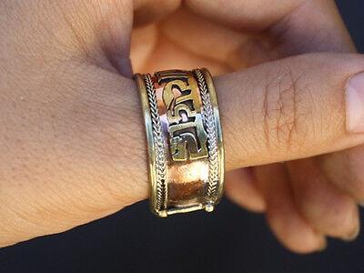 Over Half Inch Wide Adjustable Tibetan Copper Delicately Carved OM Mani Ring