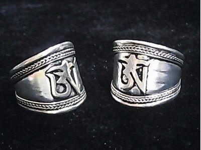 Wide Vintage Adjustable Tibetan Delicately Carved Mantra OM Weaving Amulet Ring