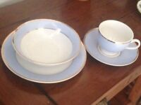 Beautiful Royal Doulton China 2004 Bruce Oldfield Tea Set - Blue & White, cup saucer bowl side plate