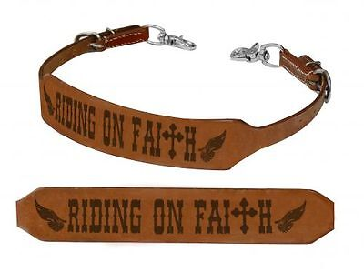 Showman RIDING ON FAITH Wings Leather Wither Strap Barrel Racing 2 Trigger Snaps