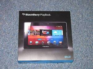 BLACK BERRY PLAYBOOK WITH CHARGER, 64 GB MEMORY AND BOX