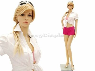 Female Plastic Unbreakable Mannequin Display Dress Form Display Ps-g7free Wig