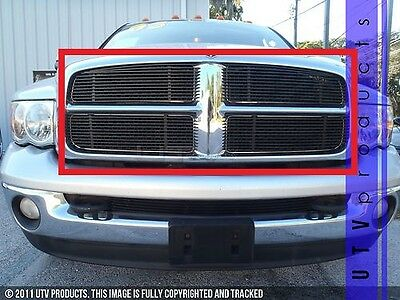 GTG 2002 - 2005 Dodge Ram 1500 4PC Gloss Black Upper Overlay Billet Grille Kit