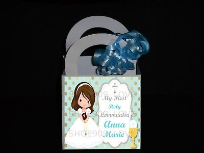 FIRST  HOLY COMMUNION 12 PERSONALIZED  FAVOR BOXES, BIRTHDAY PARTY ](Communion Party Bags)