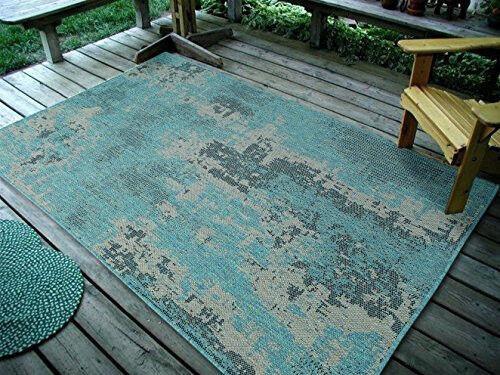 """3'3""""X5' Vintage Faded Design, Ocean Indoor & Outdoor Rug - 1"""