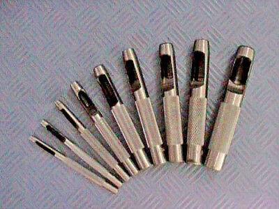 9 St Locheisen 3,2 - 12,7 mm  Lochmeißel Lochstanze Lochzange Loch Eisen Satz