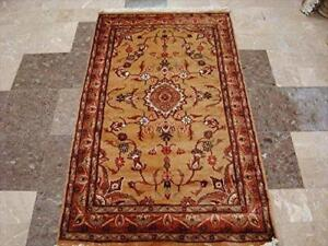 Rectangle Area Rug Awesome Floral Medalion Hand Knotted Wool Silk Carpet (5 x 3)'
