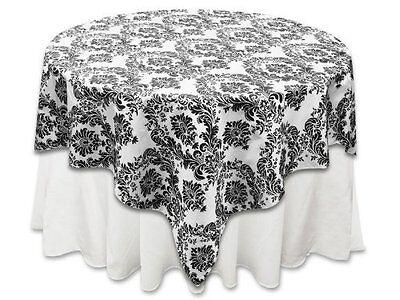 Zen Creative Designs 58 x 58 Inch Square Tablecloth Flock Damask Black White