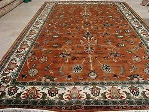 Rectangle Area Rug Ivory Rust Floral Kashaan Awesome Hand Knotted Wool Silk Carpet (9 X 6)'