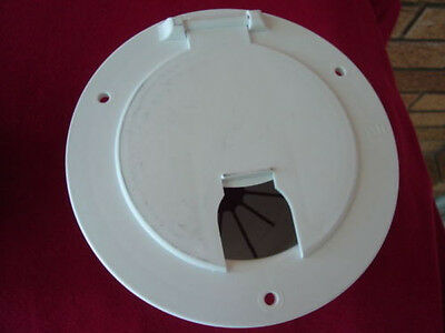 Electric Cable Hatch - RV electric POWER CORD CABLE HATCH door camper trailer white with back B&B