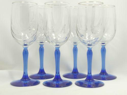 Blue Short Stem Wine Glasses