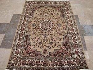 Beige Tan Beauty Floral Oriental Area Rug Hand Knotted Wool Silk Carpet (6 x 4)'