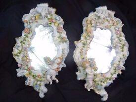 Fancy Pair Porcelain Dresden Style Putti Cherub Acanthus Rococo Bedroom Mirrors