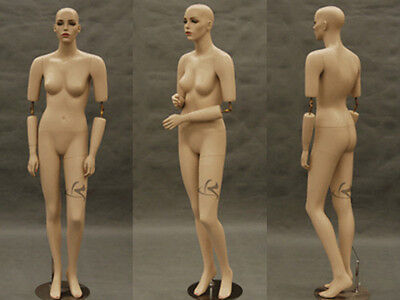 Flexible Arms Female Fiberglass Mannequin Pretty Face Dress Form Display MD-SARA