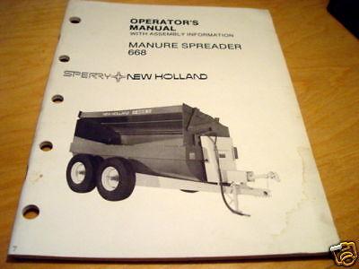New Holland 668 Manure Spreader Operators Manual Nh