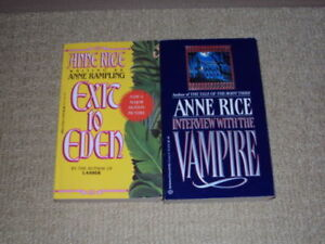 2 ANNE RICE BOOKS, EXIT TO EDEN AND INTERVIEW WITH THE VAMPIRE