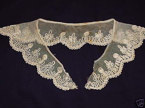 Vintage Unique rare  Antique  Beige Collar heavy detail French