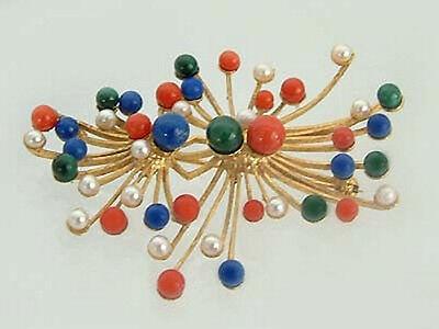 Große Brosche Silber 925 vergoldet mit Koralle und Perle Lapis Silberbrosche