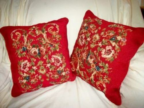 VINTAGE FLORAL NEEDLEPOINT PILLOWS FRENCH RED PAIR VELVET VINTAGE MID CENTURY