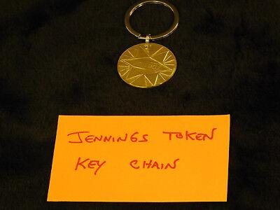 JENNINGS Gold Award Token KEY CHAIN Antique Slot PROSPERITY TOKEN KEY RING
