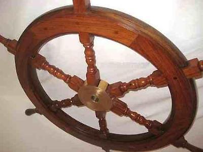 Großes, schweres Steuerrad aus Holz und massiver Messingnabe 75 cm
