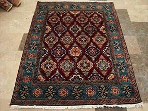 Exclusive Floral Designed Rectangle Area Rug Hand Knotted Wool Silk Carpet (6 x 4)'