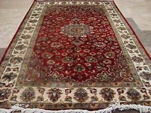 Exclusive Red Floral Lovely Rare Hand Knotted Rug Wool Silk Carpet (6 x 4)'
