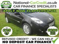 Renault Clio 1.5 dCi Dynamique 3dr (Tom Tom) Good / Bad Credit Car Finance (black) 2010