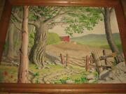 Antique Farm Oil Painting