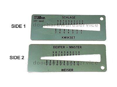 4-in-1 Key Gauge Depth Decoder Locksmith Tool. Schlage Kwikset Master Weiser De