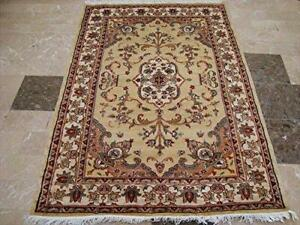 Cream Sarafian Floral Medallion Rectangle Area Rug Hand Knotted Wool Silk Carpet (6 x 4)'