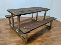 New Bespoke Heavy Duty Zinc Plated 6 Seat Garden Table Picnic Bench Pub Outdoor