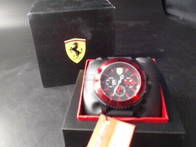 Ferrari 0830310 Men's Casual Analog Watch - Black & Red (Worn Box)