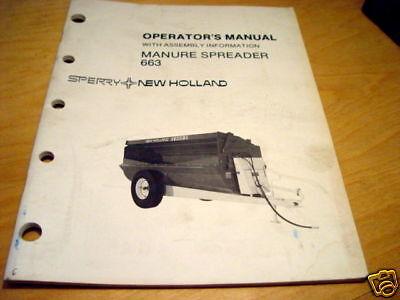 New Holland 663 Manure Spreader Operators Manual Nh
