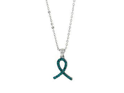 Teal Ribbon Ovarian Cancer Awareness Teal Crystal Ribbon Awareness Necklace
