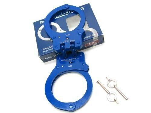 Peerless 4703N Blue Finish 850 Hinged Police Handcuffs + 2 Keys