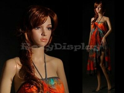 Female Unbreakable Plastic Display Mannequin Head Turns Dress Form G3 Free Wig