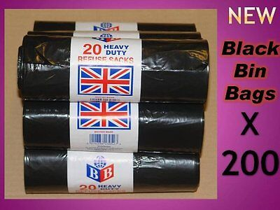 200 Heavy Duty Black Refuse Sacks Bags Bin Liners Bag Rubbish Rubble Uk British