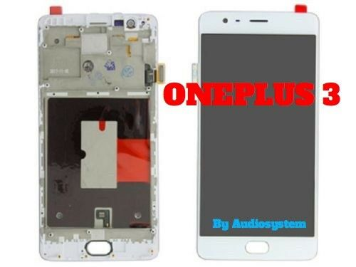 DISPLAY LCD+FRAME COVER ONEPLUS 3 A3000 A3003 TOUCH SCREEN VETRO BIANCO CORNICE